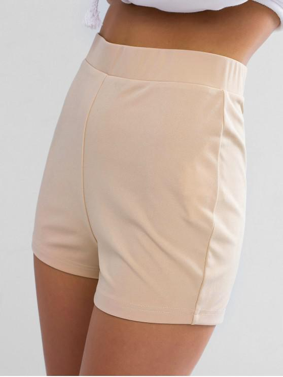 shop ZAFUL Solid Color Stretchy High Waisted Shorts - BLANCHED ALMOND M