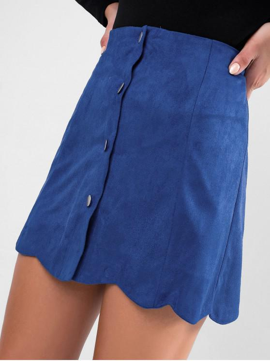 fashion Faux Suede Button Up Scalloped Skirt - BLUE L