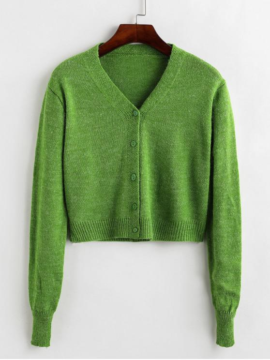 affordable Single Breasted Knitted Short Cardigan - GREEN APPLE ONE SIZE