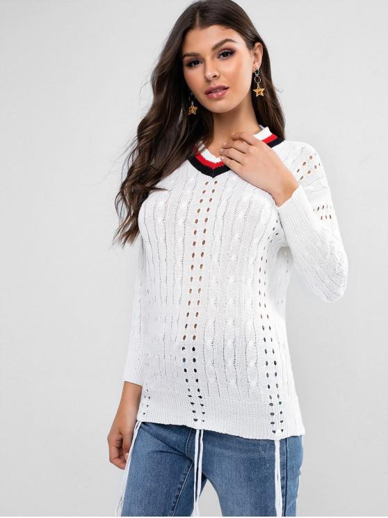 hot Striped Openwork Fringed Longline Sweater - WHITE XL