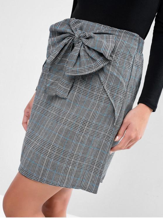 shops Bowknot Plaid Mini High Waisted Skirt - GRAY XL