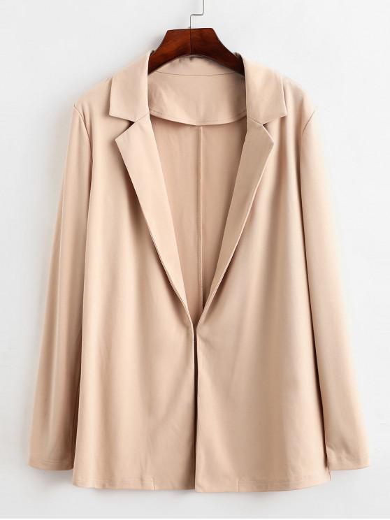 fashion ZAFUL Lapel Open Front Longline Blazer - BLANCHED ALMOND M