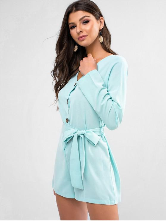 womens Long Sleeve Half Buttoned Belted Romper - LIGHT AQUAMARINE S