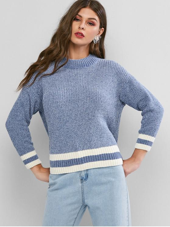 fashion Mock Neck Stripes Panel Chenille Pullover Sweater - BABY BLUE ONE SIZE