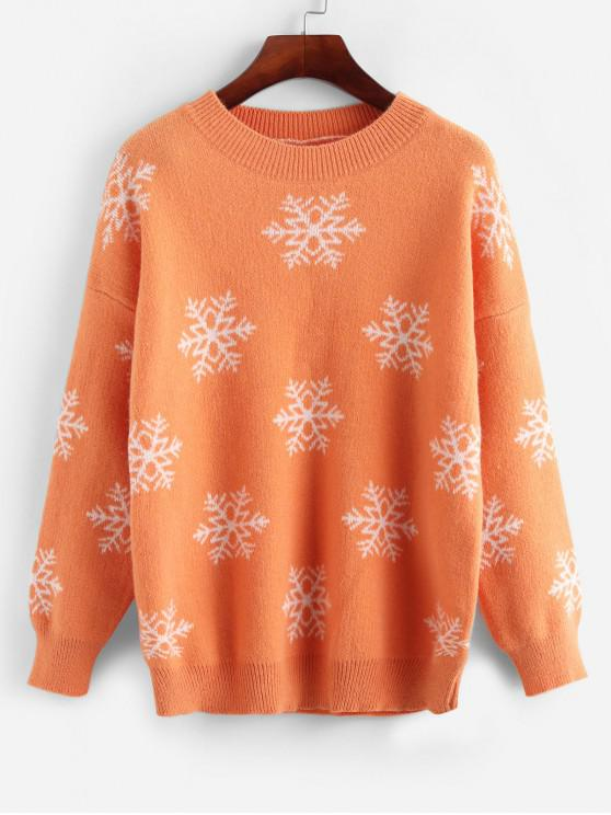 sale Christmas Snowflake Graphic Knit Drop Shoulder Sweater - SANDY BROWN ONE SIZE