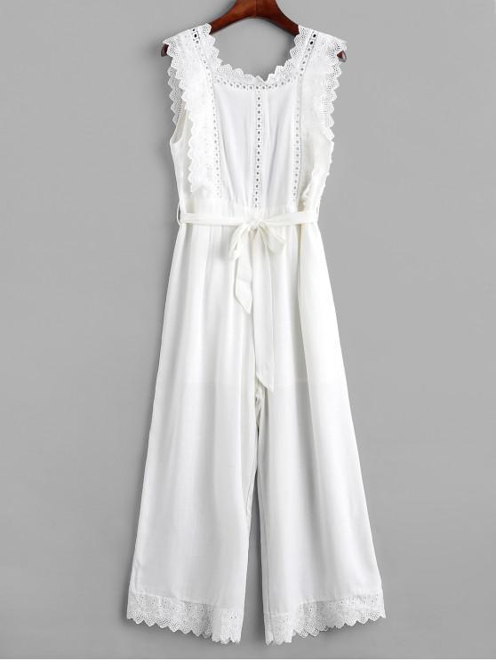 ladies Open Back Eyelet Belted Wide Leg Jumpsuit - WHITE M