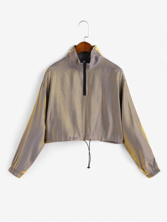 fashion Drawstring Half Zip Reflective Sweatshirt - CHAMPAGNE GOLD M