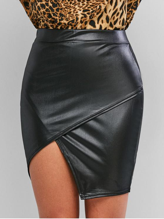 hot Faux Leather Tight Asymmetrical Skirt - BLACK M