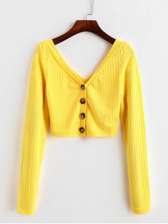 lady Button Up Ribbed Cropped Top - YELLOW S