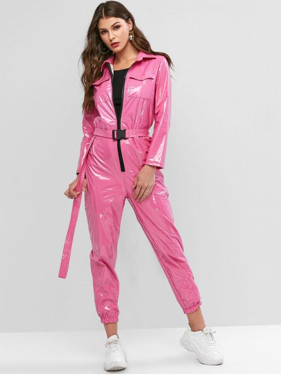 shops Pockets Zip Up Belted Patent Leather Jumpsuit - ROSE S