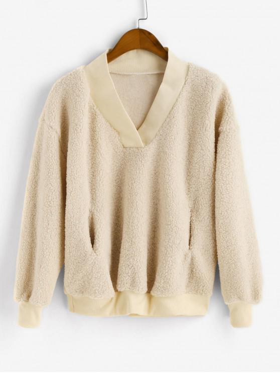 outfit Pocket V Neck Drop Shoulder Fluffy Teddy Sweatshirt - APRICOT M