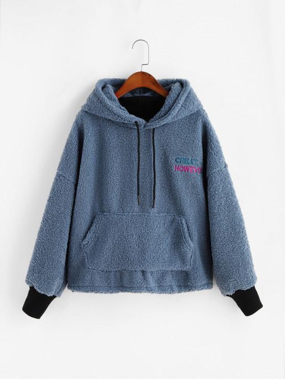 latest Embroidered Kangaroo Pocket Teddy Fluffy Hoodie - BLUE XL