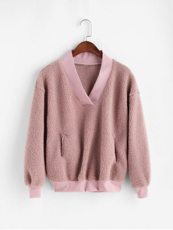 fancy Pocket V Neck Drop Shoulder Fluffy Teddy Sweatshirt - PINK XL