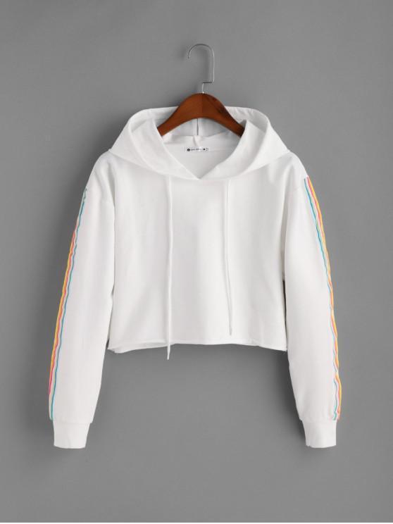 women's Side Striped Crop Drawstring Hoodie - WHITE S