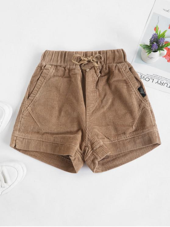 shops Corduroy Pocket Drawstring Shorts - TAN XL