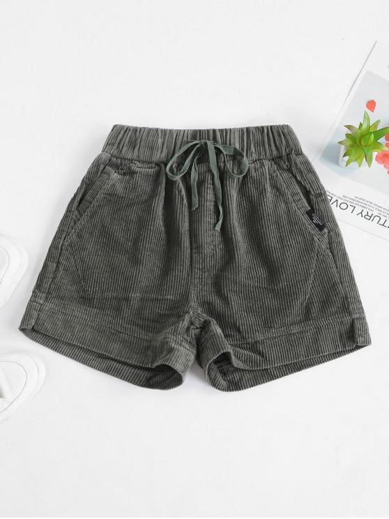 women Corduroy Pocket Drawstring Shorts - ARMY GREEN 2XL