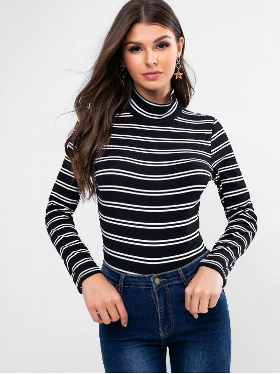womens Striped Ribbed High Neck Long Sleeve Bodysuit - BLACK M