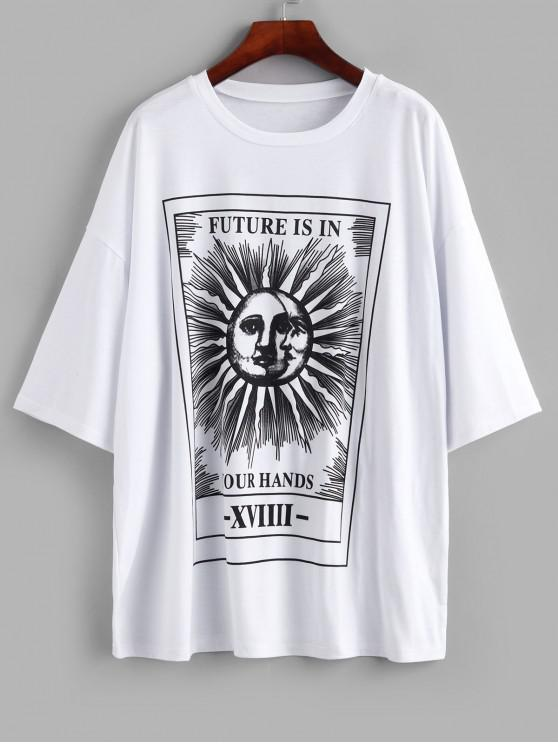 fancy Sun and Moon Letter Print Loose Tee - WHITE M