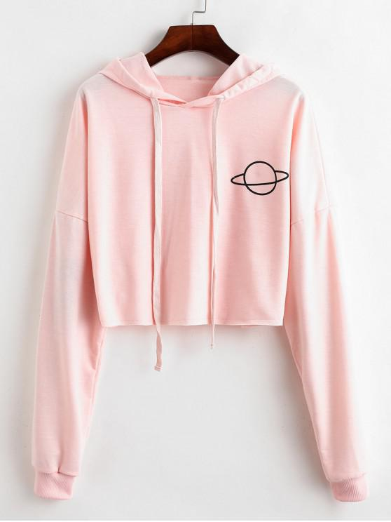 new Raw Cut Planet Graphic Drop Shoulder Hoodie - PINK M
