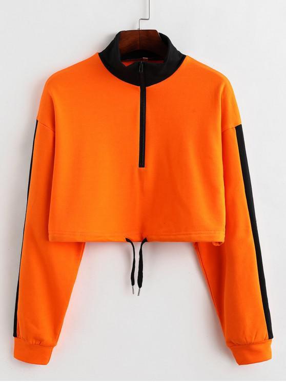 affordable Drawstring Half Zip Color Block Cropped Sweatshirt - ORANGE M