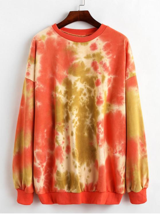 best Tie Dye Oversized French Terry Tunic Sweatshirt - TIGER ORANGE ONE SIZE