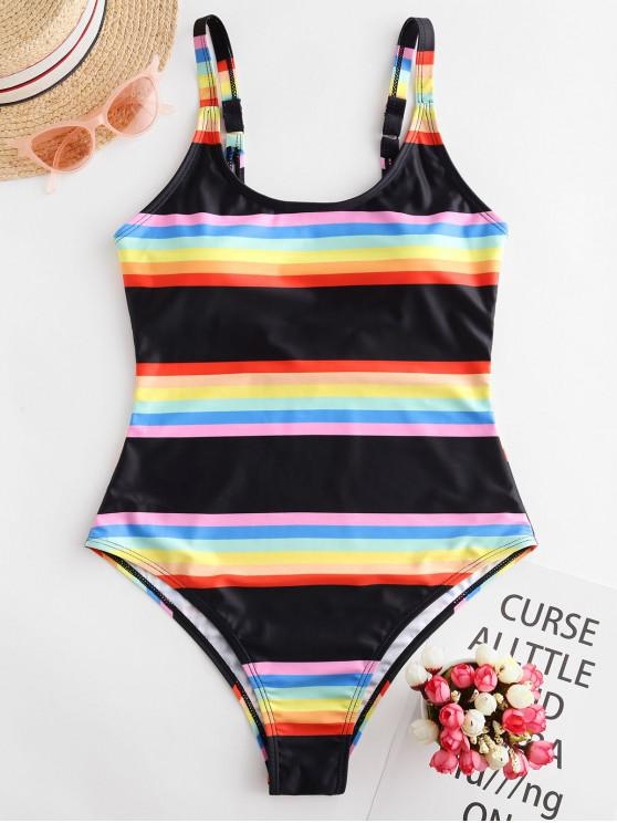 ZAFUL listrado do arco-íris Low Back Uma peça Swimsuit - Multi-A	 M