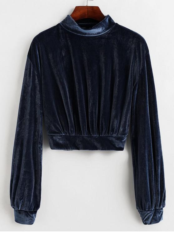 fashion Mock Neck Velvet Cropped Sweatshirt - SLATE BLUE S