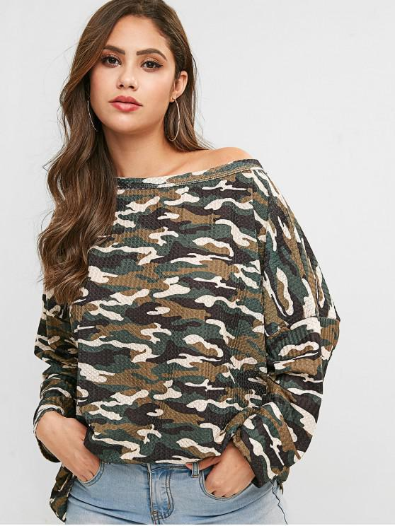fancy Camouflage Long Sleeves Loose Tee - GREEN S