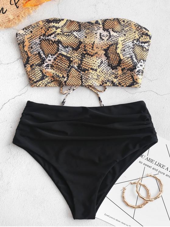 unique ZAFUL Snakeskin Bandeau Tummy Control Tankini Swimsuit - MULTI-B M