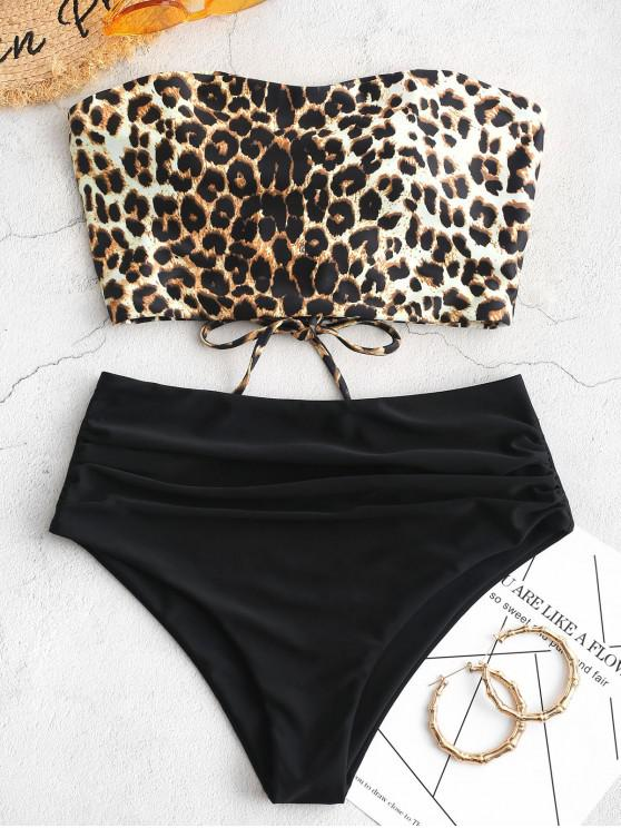 ladies ZAFUL Snakeskin Bandeau Tummy Control Tankini Swimsuit - MULTI-C L