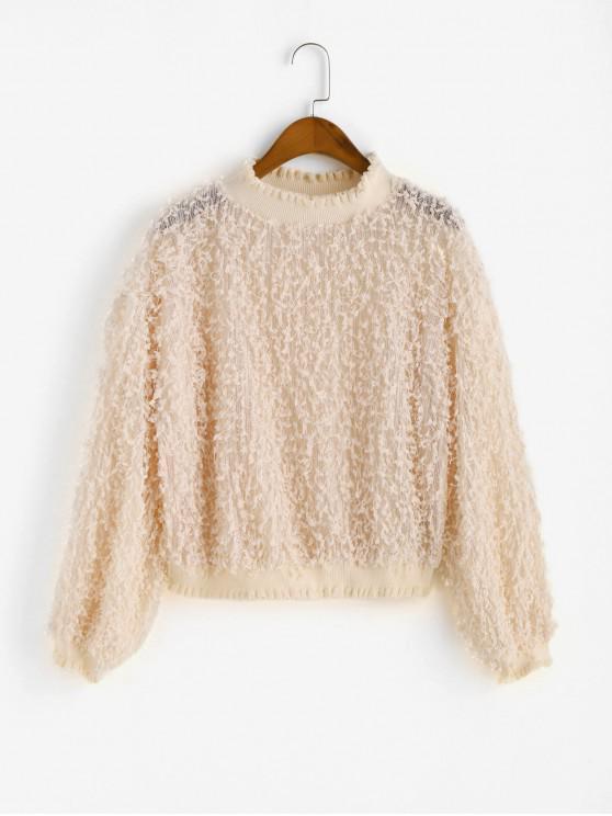 lady Ruffle Neck Embellished Solid Sweatshirt - APRICOT M