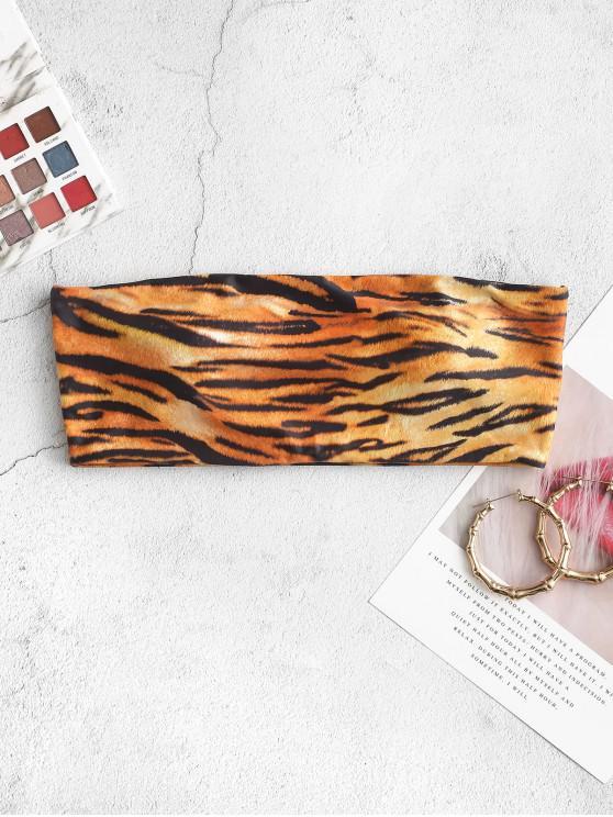 hot ZAFUL Tiger Print Bandeau Bikini Top - MULTI-A L