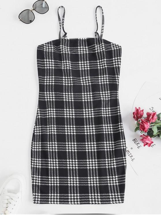 ladies ZAFUL Houndstooth Print Mini Cami Dress - MULTI-A XL