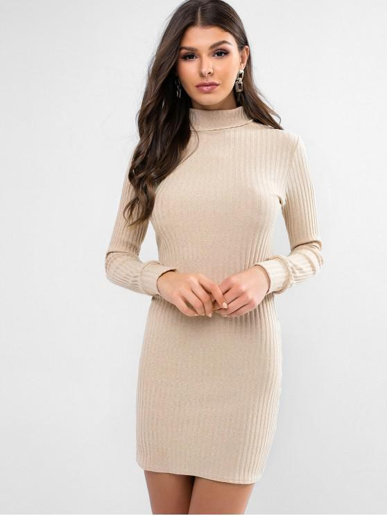 Hot Turtleneck Ribbed Bodycon Knit Dress   Light Khaki M by Zaful
