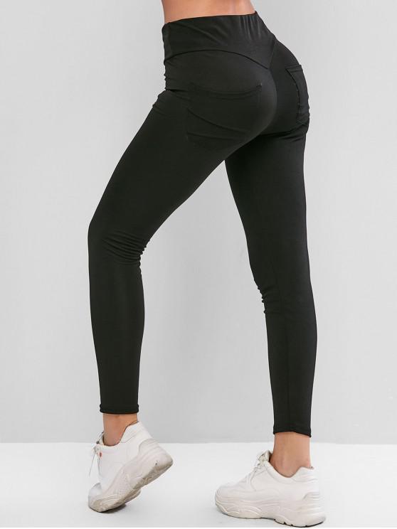 buy Back Pocket High Waisted Ninth Leggings - BLACK L
