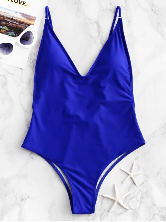 chic ZAFUL Plunge Front Padded Backless One-piece Swimsuit - BLUE L