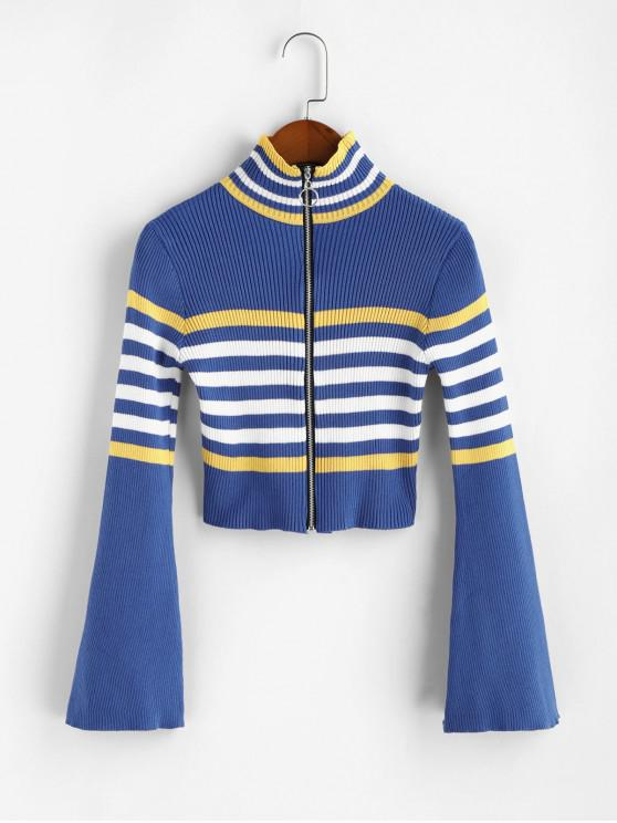 hot Flare Sleeves Striped Zip Up Crop Cardigan - BLUE ONE SIZE