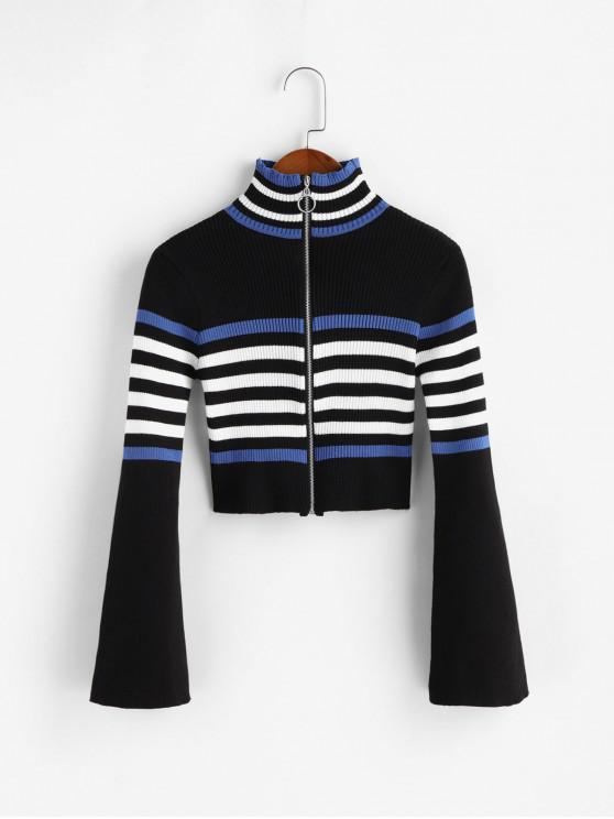 lady Flare Sleeves Striped Zip Up Crop Cardigan - BLACK ONE SIZE