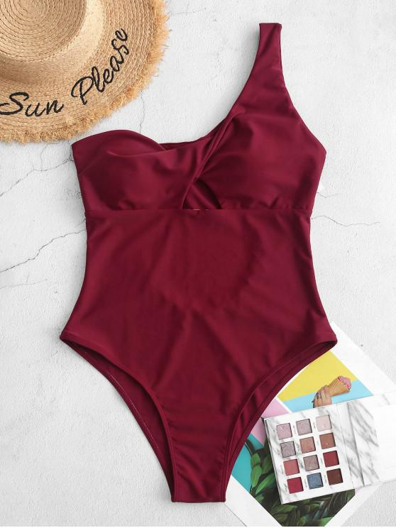 chic ZAFUL Twisted One Shoulder Cut Out One-piece Swimsuit - RED WINE S