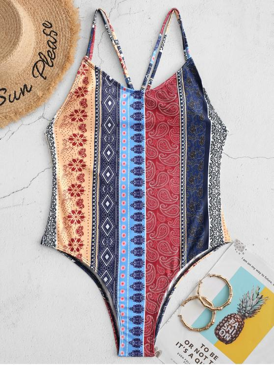 women's ZAFUL Bohemian Flower Paisley Backless One-piece Swimsuit - MULTI-A XL