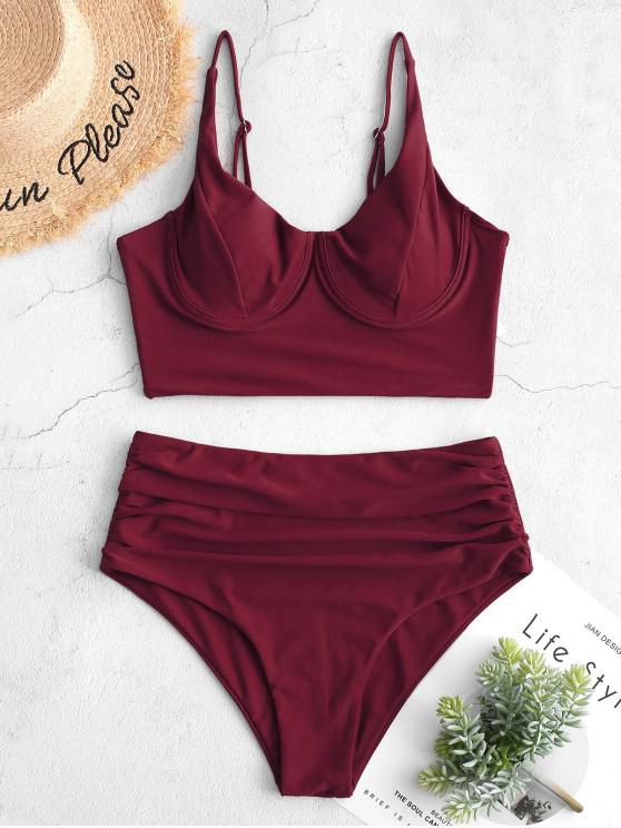 fashion ZAFUL Ruched Underwire Tankini Swimsuit - RED WINE M