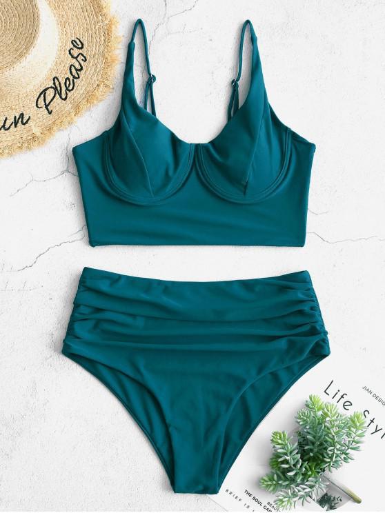 ZAFUL Ruched Underwire ملابس السباحة Tankini - الطاووس الأزرق XL