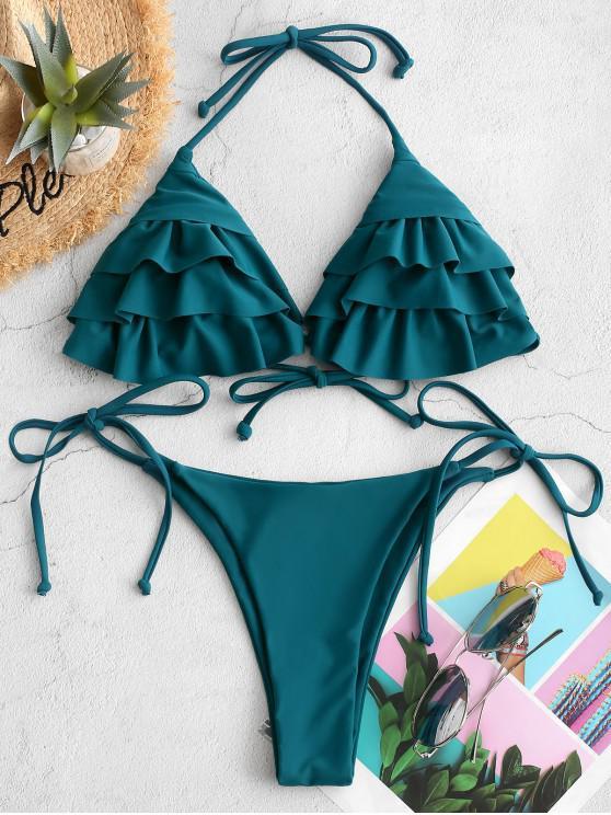 new ZAFUL Ruffle Halter String Bikini Swimsuit - GREENISH BLUE M