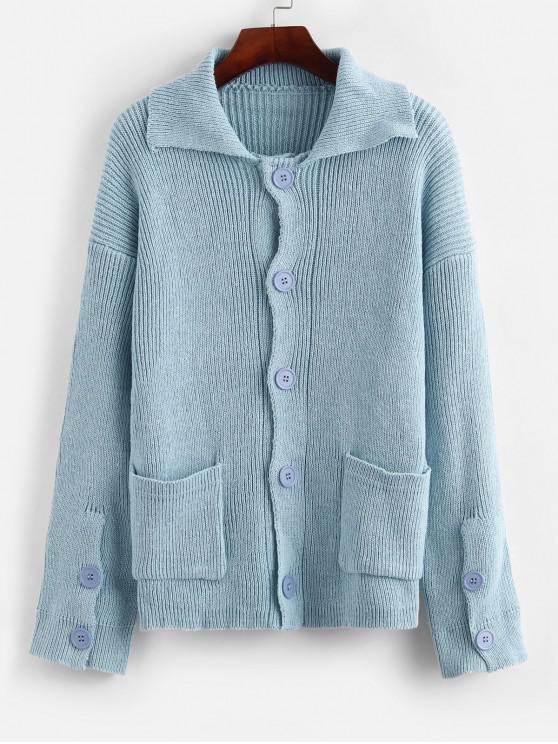 best Button Up Drop Shoulder Pocket Cardigan - CORAL BLUE ONE SIZE