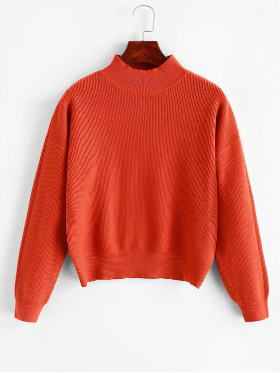shops Drop Shoulder Mock Neck Plain Sweater - ORANGE ONE SIZE