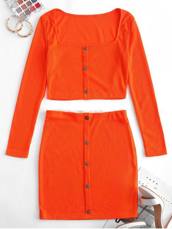 lady Mock Button Crop Sheath Two Piece Suit - DARK ORANGE XL