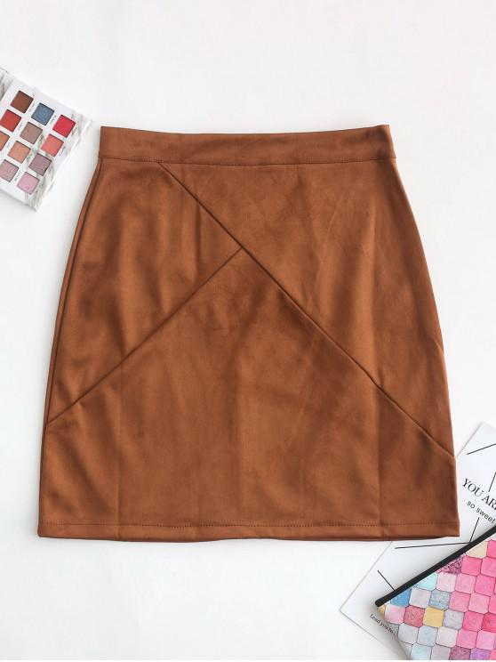 chic Back Zipper Faux Suede A Line Skirt - BROWN L
