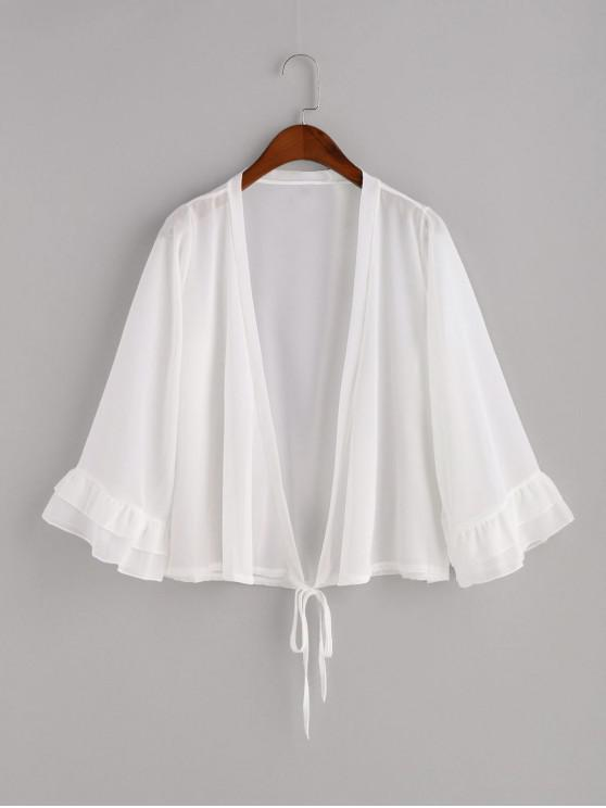 new Tiered Ruffle Tie Sheer Chiffon Cover-up - WHITE ONE SIZE