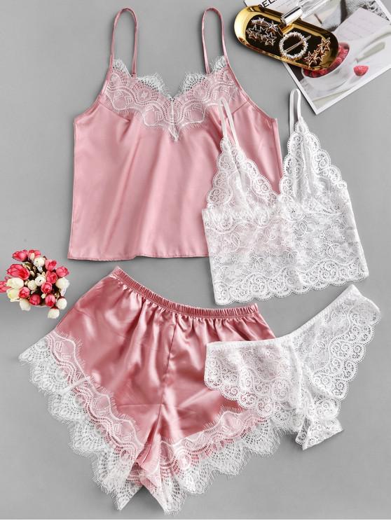 unique Lace Insert Satin Four Pieces Pajama Set - PINK L