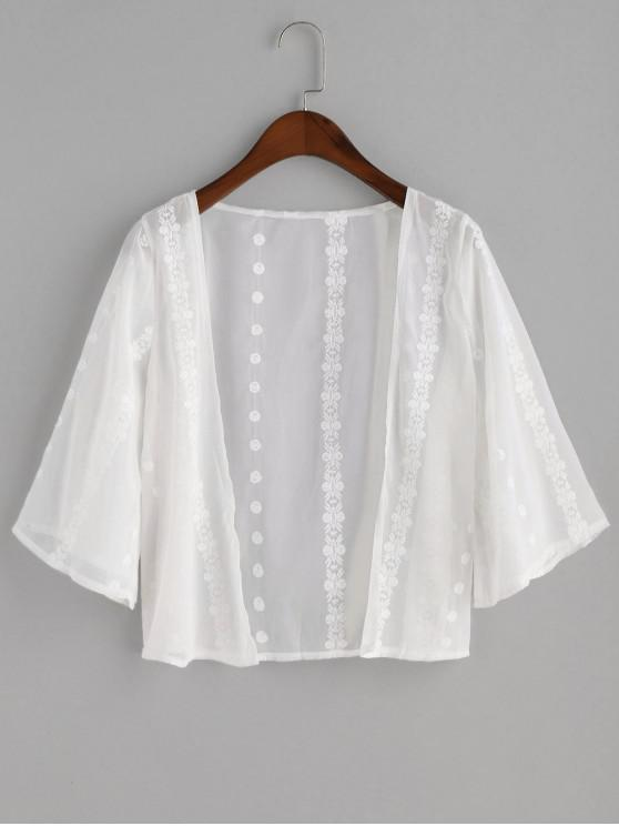 affordable Semi Sheer Embroidered Cover-up - WHITE ONE SIZE